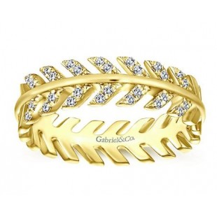 14K YELLOW GOLD ARROW DESIGN STACKABLE DIAMOND