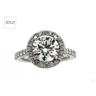 14K 2.14ct Eight Star Round Brilliant Diamond Engagement Ring