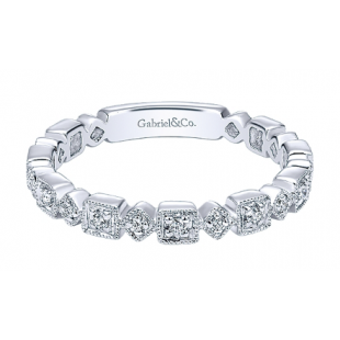 14K WHITE GOLD DIAMOND MILGRAIN STACKABLE BAND