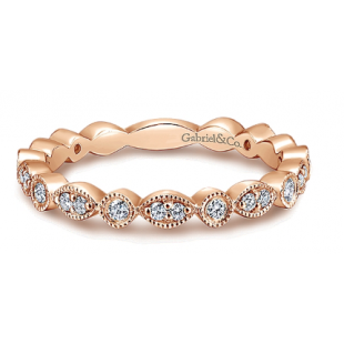 14K ROSE GOLD DIAMOND MILGRAIN BAND