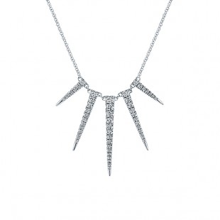 "17"" 14K WHITE GOLD DIAMOND ICICLE NECKLACE"