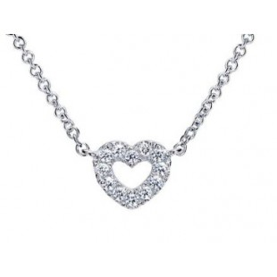 "17"" 14K WHITE GOLD DIAMOND HEART NECKLACE"