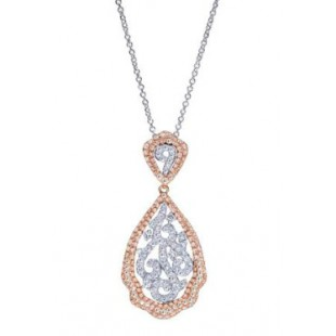 "18"" 14K ROSE AND WHITE GOLD DIAMOND DROP PENDANT"