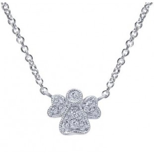 "18"" 14K WHITE GOLD DIAMOND ANGEL NECKLACE"