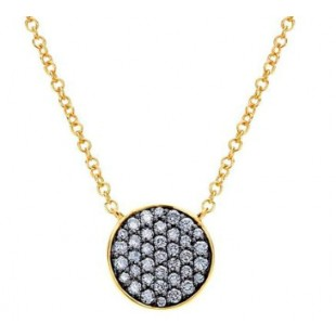 "17.5"" 14K YELLOW GOLD CIRCLE DIAMOND PENDANT"