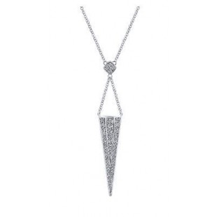 "17"" 14K WHITE GOLD DIAMOND TRIANGLE NECKLACE"