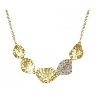 "17""-14K YELLOW GOLD DIAMOND NUGGET NECKLACE"