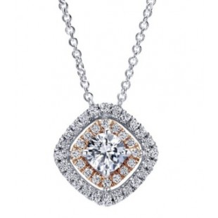 "17"" 14K WHITE AND ROSE GOLD DIAMOND PENDANT"