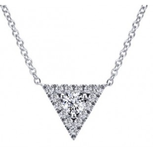 "18"" 14K WHITE GOLD DIAMOND TRIANGLE NECKALACE"