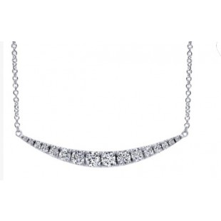 "17"" 14K WHITE GOLD DIAMOND BAR NECKLACE"