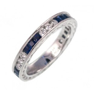Gabriel and Co 14K White Gold Sapphire and Diamond Band
