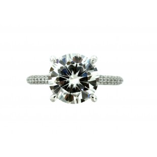 18K WHITE GOLD 3.00CT MOISSANITE AND DIAMOND RING