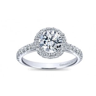 14K White Gold Diamond Halo Engagement Ring Semi Mount