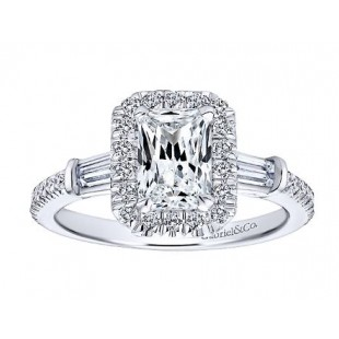 14K White Gold Diamond Halo Engagaement Ring Semi Mount for a 1 Carat Emerald Cut