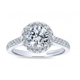14K White Gold Round Halo Engagement Ring Semi Mount for a 1 Carat Round Diamond