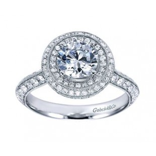 14K White Gold Diamond Double Halo Enagement Ring Semi Mount for 1.00 Carat Round