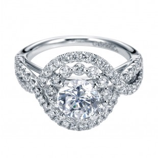 Gabriel and Co. 14k White Gold Double Halo Setting for 1 Carat Round Diamond