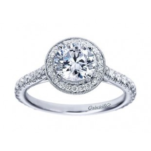 14k White Gold Diamond Halo Setting for 1 carat Round Brilliant Diamond