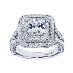 14k White Gold Diamond Double Halo Victorian style Setting for 1.25 Carat Princess Cut Diamond