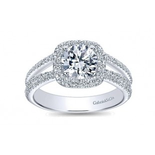 14K White Gold Diamond Halo Engagement Ring Semi Mount with Split Shank