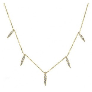 14K YELLOW GOLD DIAMOND FASHION NECKLACE
