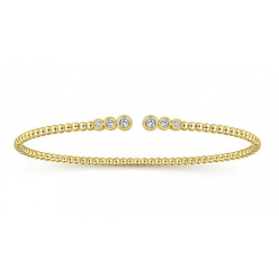 14K YELLOW GOLD DIAMOND BEAD BANGLE CUFF