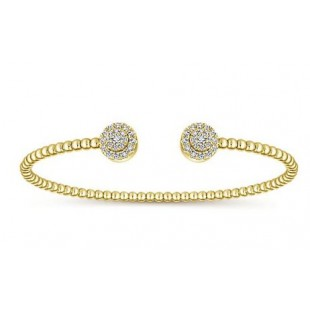14K YELLOW GOLD DIAMOND BEADED BANGLE CUFF