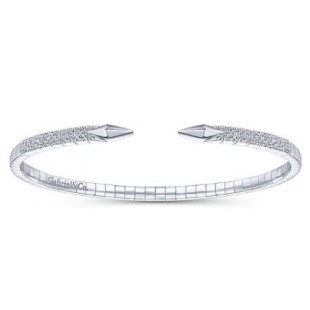 14K WHITE GOLD DIAMOND OPEN BANGLE