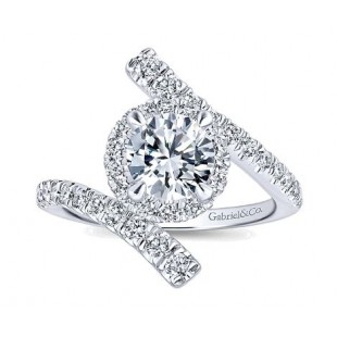 14K White Gold Diamond Bypass Engagement Ring Semi Mount
