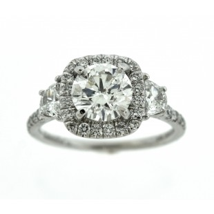 1.36 Carat Round Brilliant Diamond Engagement Ring