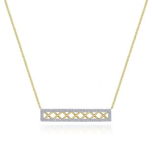 14K YELLOW AND WHITE GOLD DIAMOND TWISTED X BAR NECKLACE