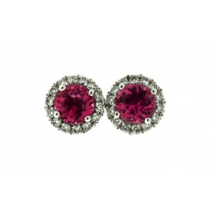 14K WHITE GOLD TOURMALINE AND DIAMOND STUD EARRINGS