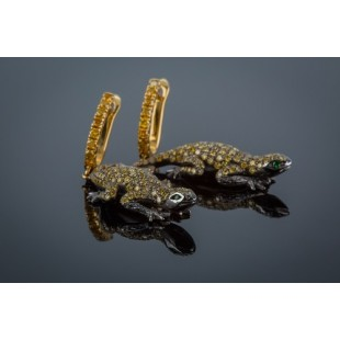 18K YELLOW GOLD DIAMOND LIZARD EARRINGS
