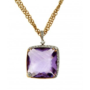18K YELLOW GOLD AMETHYST AND DIAMOND PENDANT