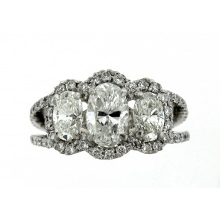 Platinum 3.08 ct Oval 3 Stone Diamond Ring
