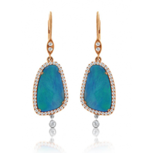 14K ROSE GOLD OPAL AND DIAMOND DANGLE EARRINGS.