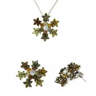 18K White Gold Multicolor Diamond Snowflake Earring and Pendant Set