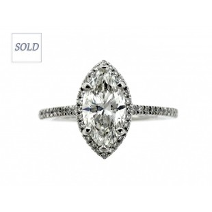 14K 1.59ct Marquise Cut Diamond Engagement Ring