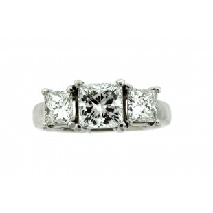 2.25 Carat 3 Stone Princess Cut Diamond Enagement Ring