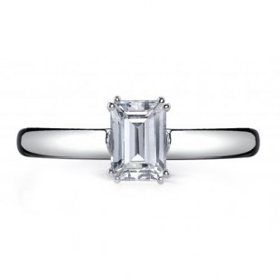 14K White Gold Emerald Solitaire Setting