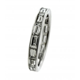 18K WHITE GOLD 1.82 CARATS DIAMOND BAGUETTE ETERNITY BAND