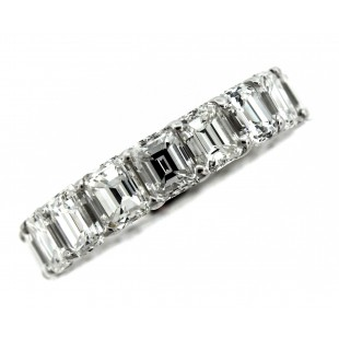 18K 9.72 Carat Emerald Cut Diamond Eternity Band
