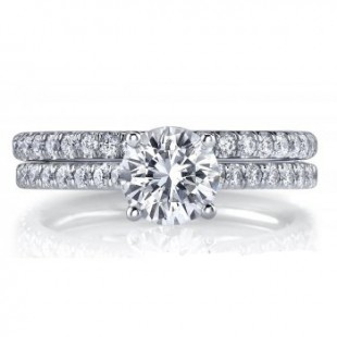 18K White Gold Engagement Ring and Wedding Band Set for a 1 Carat Round Diamond