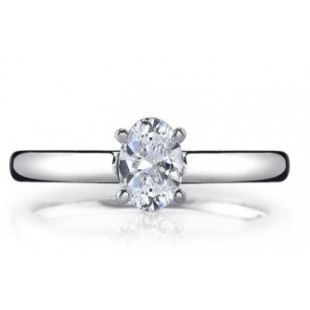 14K White Gold Oval Solitaire Setting