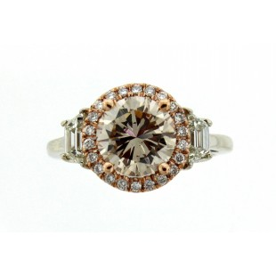 2.00 Carat Round Champagne Diamond Engagement Ring