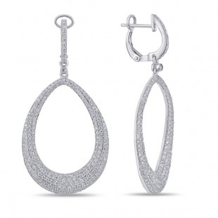 14K WHITE GOLD DIAMOND CIRCLE DANGLE EARRINGS