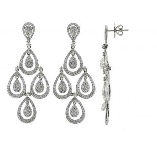 14K WHTIE GOLD DIAMOND CHANDELIER EARRINGS
