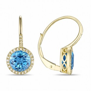14K YELLOW GOLD TOPAZ AND DIAMOND LEVER BACK EARRINGS WITH 2 ROUND CUT BLUE TOPAZ