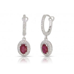 14K WHITE GOLD RUBY AND DIAMOND DANGLE EARRINGS