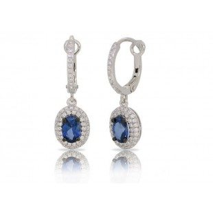 14K WHITE GOLD SAPPHIRE AND DIAMOND DROP EARRINGS